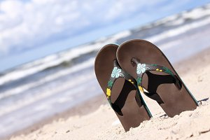 Pair of brown flip flops
