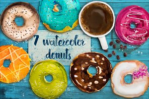 set with watercolor donuts