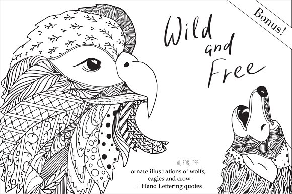 Free and wild.Doodling collection - Illustrations