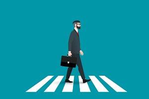 Hipster pedestrian. Power walking.