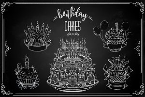 Chalk birhday cakes set