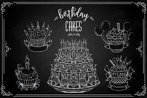 Chalk birhday cakes set
