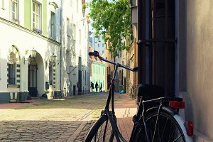 Bicycle parked on the street. Riga