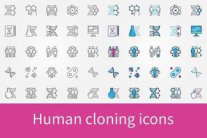 Human cloning icons set