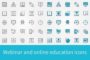Webinar and online education icons