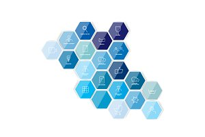 Hexagonal icon template. Vector.