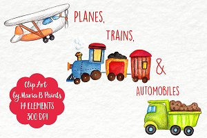 Watercolor Clip Art - Vehicles