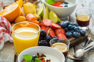 Breakfast - yogurt with fruits granola and coffee