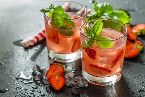 Strawberry and basil infused water