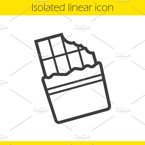 Chocolate bar linear icon. Vector in Graphics