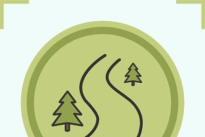 Winding country road icon. Vector