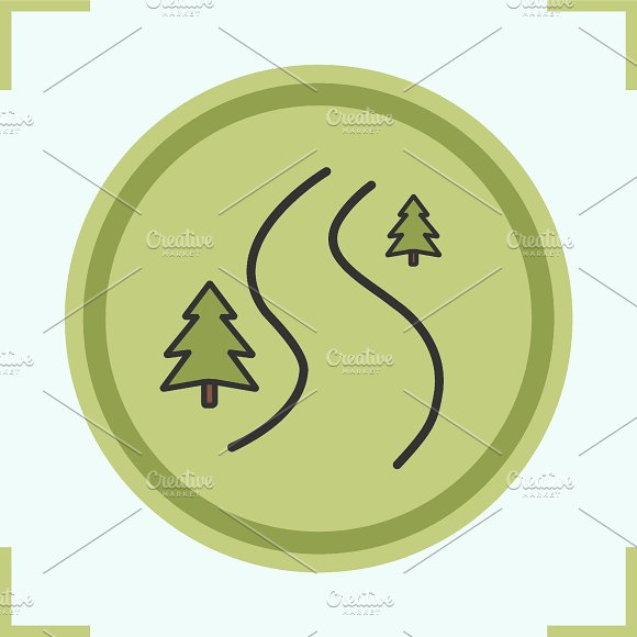 Winding country road icon. Vector - Icons