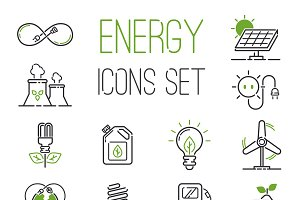 Energy icons vector set
