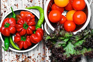 Pepper ratunda and green peppers