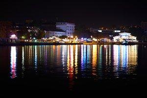 Colorful city illumination at night