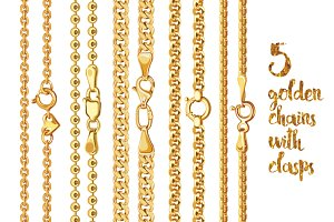 5 golden chains with clasps