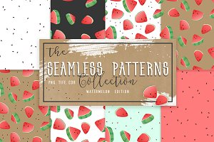Seamless Watermelon Patterns