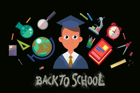 Back to School. 5 vector card - Illustrations