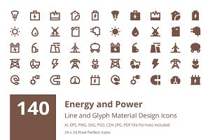 140 Energy and Power Material Icons