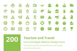 200 Tourism and Travel Material Icon