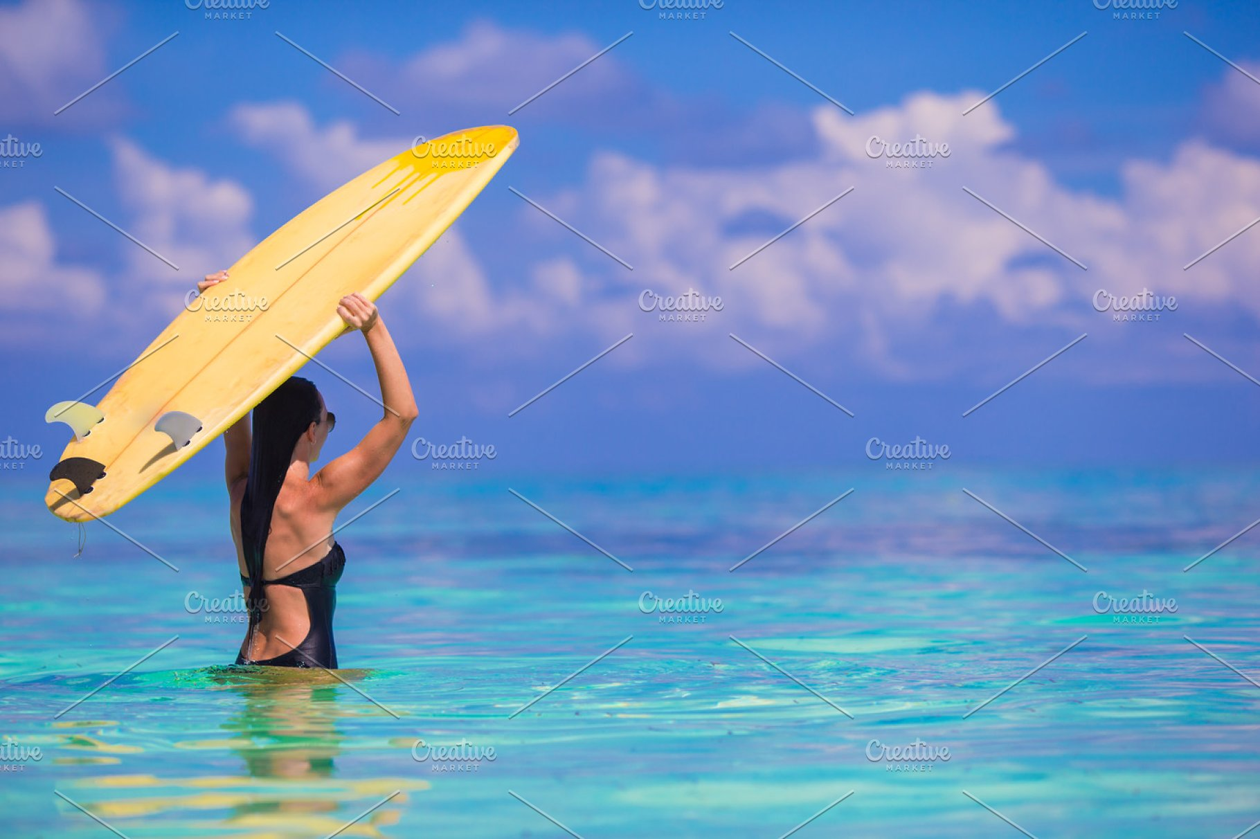 Happy Shapely Surf Woman At White Beach With Yellow Surfboard
