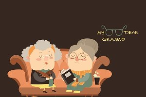 Elderly women sitting on couch