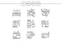 Healthy nutrition line vector icons