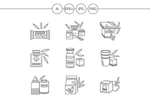 Healthy nutrition line vector icons
