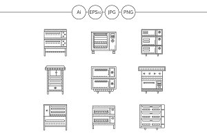 Ovens and stoves line icons. Set 2