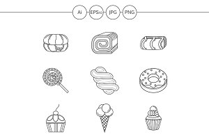 Candies and cakes line icons. Set 2