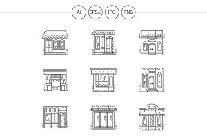 Store and shops line icons. Set 2