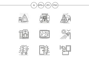 Camping elements line icons. Set 2