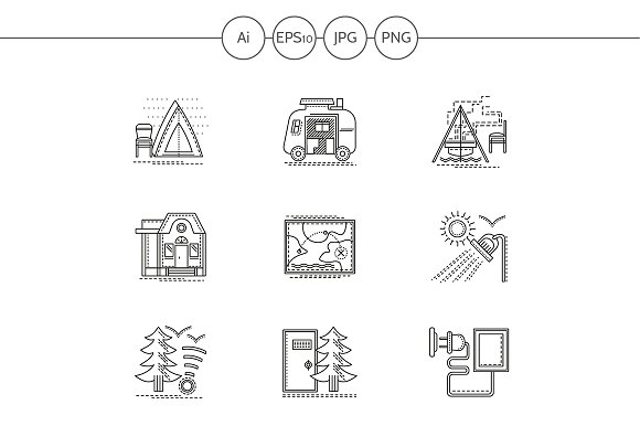 Camping elements line icons. Set 2 - Icons