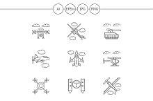 Military drones line icons. Set 2