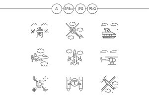 Military drones line icons. Set 2
