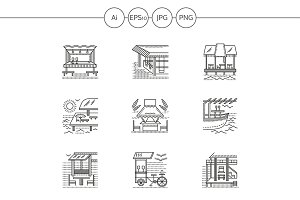 Cafe and bungalows line icons. Set 2