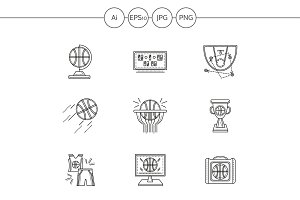 Basketball line vector icons. Set 2