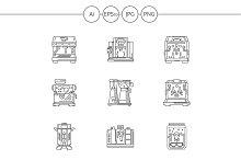 Coffee equipment linear icons set