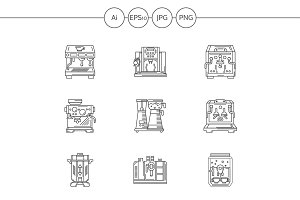 Coffee equipment linear icons set