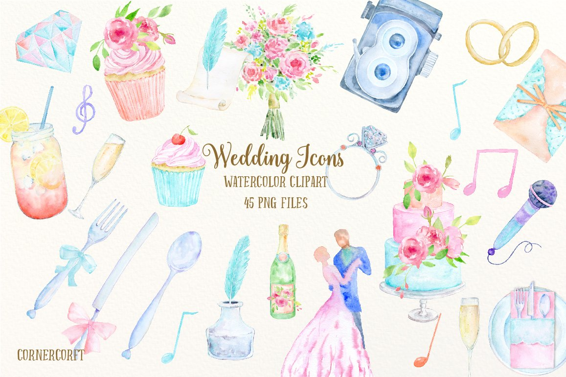 Watercolor Clipart Wedding Icons ~ Illustrations ~ Creative Market
