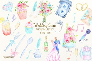 Watercolor Clipart Wedding Icons