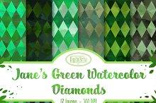 Seamless Green Diamonds Patterns