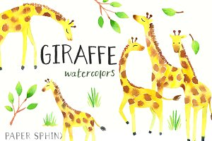 Sweet Giraffes Watercolor Pack