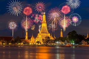 Wat Arun river side with fireworks