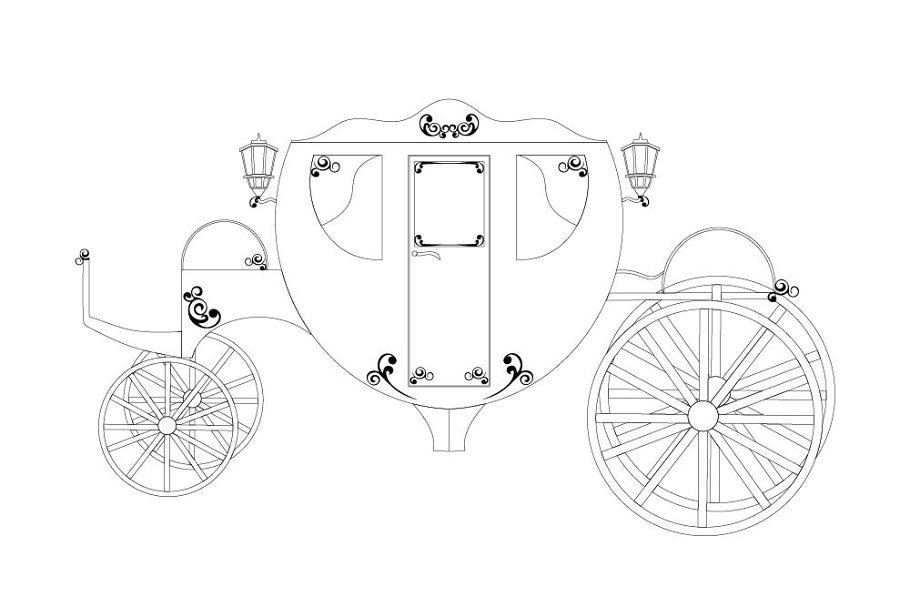 Carriage line vector illustration