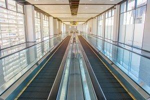 escalators stairway inside modern