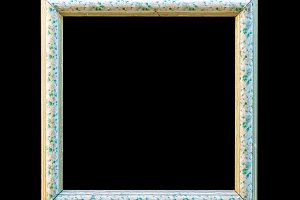 Ornamented white wood empty frame