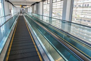 long walkway of escalator