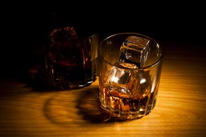 whisky focused in dark
