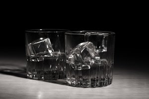 pure whisky with ice